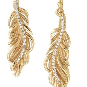 Stella & Dot NWTs Bronze Leaf CZ Dangle Earrings